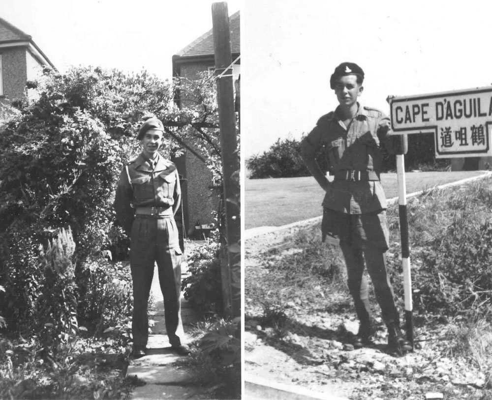 Gunner Flann in the beginning and at the end of his National Service in the Royal Artillery.
