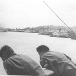 Entering the harbor and preparing to moor at Colombo, Ceylon. I do not know these two squaddies, but we all spent many an hour leaning over the rail watching the sea go by, a very pleasant pursuit.