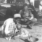 Ashore in Colombo, Tim Tate-Smith with a snake charmer