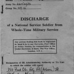 Front cover of my National Service Discharge papers , a small book signifying my honorable discharge. Although issued to me at Stanley Barracks, it was the Woolwich Depot where I used them to transition out of National Service in the Royal Artillery and in to civilian life.