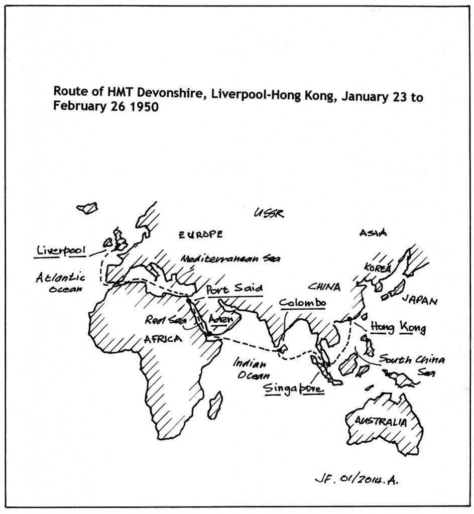 Gunner Flann's route to Hong Kong on the HMT Devonshire