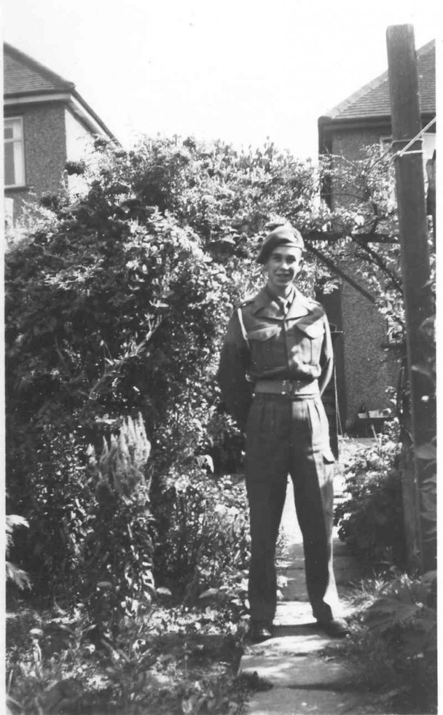 The fresh recruit, 22152933 Gunner J L Flann, July 1949, aged 18, at home on my first leave. Through National Service, I am in the Royal Artillery, but not yet of it.